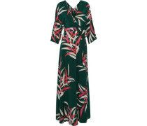 Woman Eloise Printed Silk Crepe De Chine Maxi Wrap Dress Dark Green