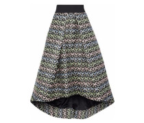 Pleated brocade midi skirt
