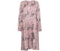 Bow-embellished Printed Silk-satin Dress Baby Pink