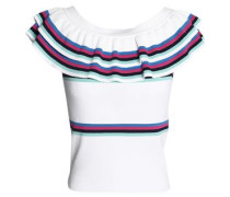 Ruffle-trimmed striped stretch-knit top