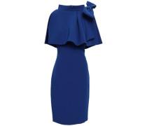 Bow-embellished Cape Overlay Stretch-crepe Dress Royal Blue