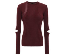 Leather-trimmed Cutout Ribbed Wool-blend Sweater Merlot