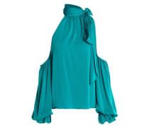 Cold-shoulder silk-blend blouse