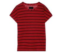 Woman Metallic Striped Slub Linen-blend Jersey T-shirt Brick