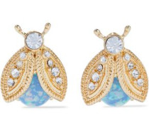 Gold-tone, stone and crystal clip earrings