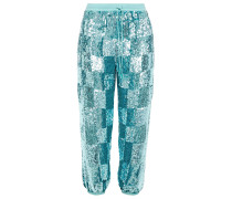 Woman Stacia Cropped Sequined Chiffon Tapered Pants Teal