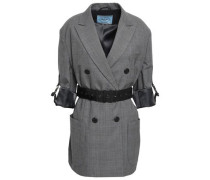 Belted Prince Of Wales Checked Wool Jacket Dark Gray