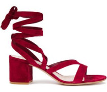 Woman Janis 65 Suede Sandals Crimson