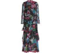 Ruffled printed silk-georgette midi dress