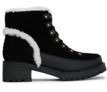 Shearling-trimmed Suede Ankle Boots Black