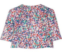 Floral-print cotton-blend faille top