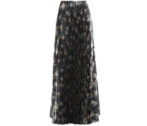 Metallic floral-print woven maxi skirt