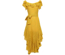Woman Ruffled Belted Embroidered Silk-gauze Dress Marigold