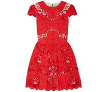 Karen Broderie Anglaise Cotton Mini Dress Red Size 12