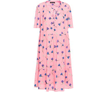 Woman Gathered Floral-print Crepe Dress Baby Pink