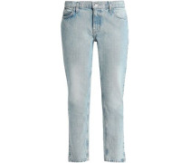 Cropped Mid-rise Straight-leg Jeans Light Denim  8
