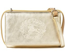 Woman Logo-embossed Metallic Textured-leather Shoulder Bag Gold