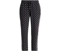 Printed Silk Straight-leg Pants Black