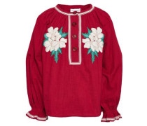 Zahid Embroidered Cotton-gauze Blouse Claret