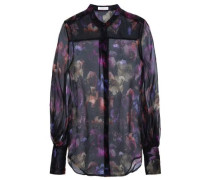 Floral-print Silk-organza Shirt Black