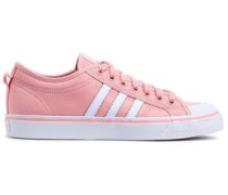 Woman Nizza Leather-trimmed Canvas Sneakers Pastel Pink