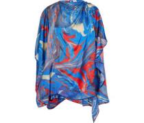 Draped Printed Satin-twill Blouse Blue