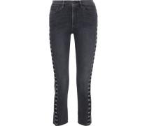 Corset Hook-detailed High-rise Slim-leg Jeans Dark Denim  4