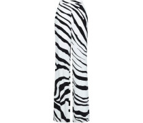 Zebra-print Crepe Wide-leg Pants Off-white