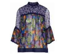 Denim-trimmed floral-print silk-chiffon top