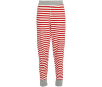 Helen Striped Cotton-jersey Pajama Top Red