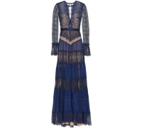 Tiered Satin-trimmed Lace And Crepe Gown Cobalt Blue