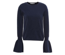 Fluted Merino Wool-blend Sweater Navy