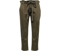 The Tabloid Stretch-cotton Tapered Pants Army Green Size 0
