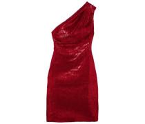 Valentina One-shoulder Sequined Stretch-tulle Mini Dress Crimson