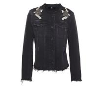 Woman Frayed Appliquéd Embellished Denim Jacket Black