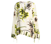 Pleated Printed Silk Crepe De Chine Top Cream
