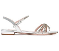 Woman Crystal-embellished Mirrored Leather Sandals Silver