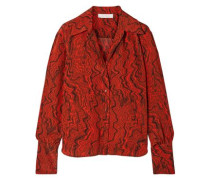 Printed Silk Crepe De Chine Shirt Brick