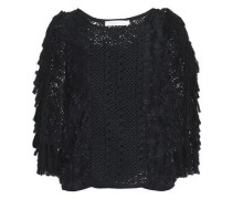Fringed fil coupé and crochet top