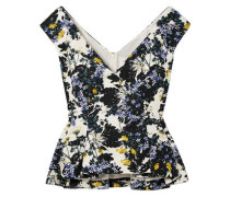Jio Floral-print Cotton-blend Faille Peplum Top White Size 14