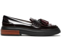 Tasseled Fringed Glossed-leather Loafers Burgundy