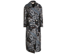 Double-breasted floral-print cotton and silk-blend coat