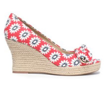 Bow-embellished printed wedge espadrilles