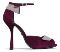 Two-tone suede sandals
