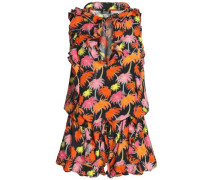 Ruffle-trimmed printed crepe playsuit