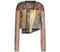 Patchwork Metallic Duchesse-satin And Leather Jacket Brass