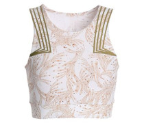 Cropped Printed Stretch-jersey Top White