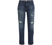 The Fling Embellished Mid-rise Straight-leg Jeans Dark Denim  4