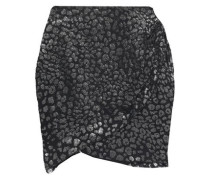 Woman Baying Wrap-effect Leopard-print Fil Coupé Chiffon Mini Skirt Black