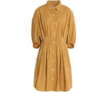Gathered cotton-blend poplin dress